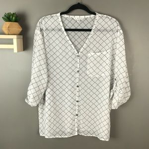 CAbi sheer button up blouse white & black sz Small